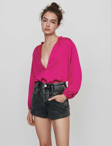 Belted faded shorts : Shorts color Anthracite
