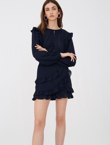 Playsuit with ruffles : Jumpshort & Jumpsuits color Navy