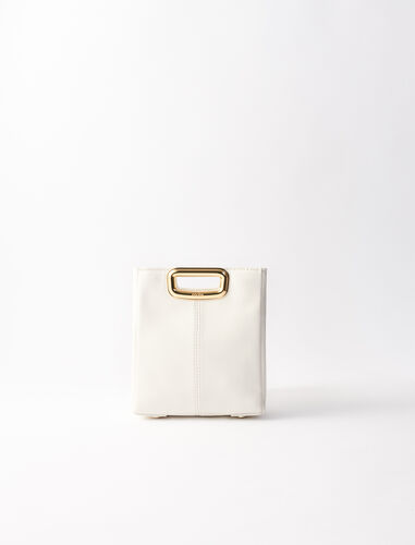 Mini leather and goldtone M Skin bag : New In color White