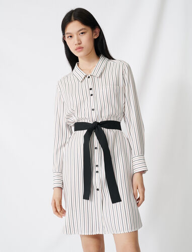Belted pinstriped shirt dress : Dresses color Ecru / Black