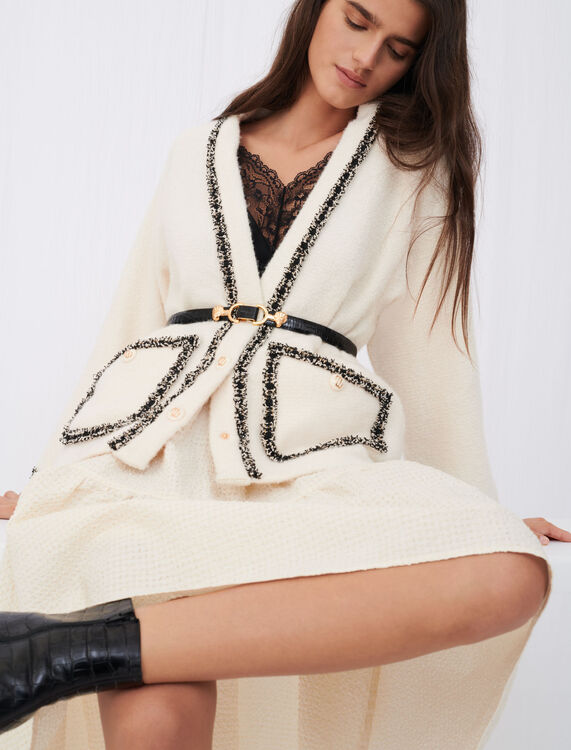 Contrast tweed jacket - Coats & Jackets - MAJE