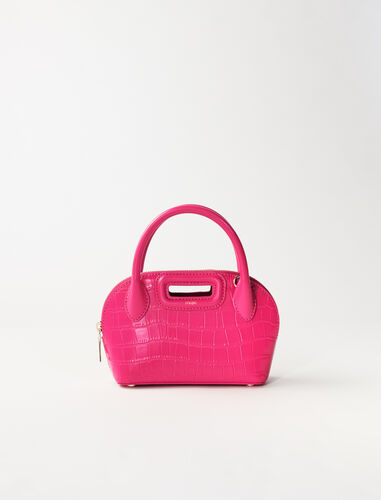 Small crocodile-effect leather bag : Shoulder bags color Fuchsia