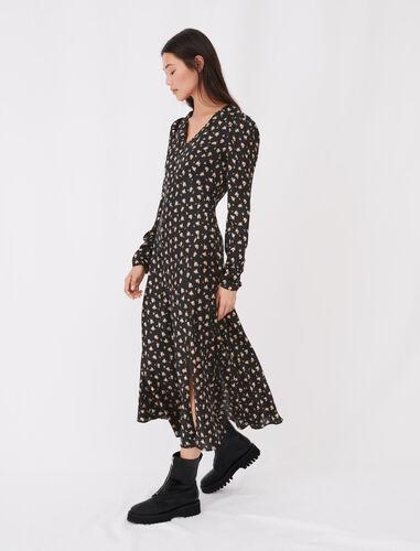 Satin floral print dress : Dresses color Black / Camel