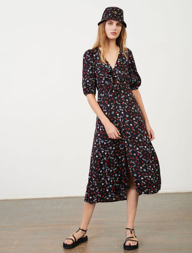 Printed jacquard tie dress : Dresses color Black Red
