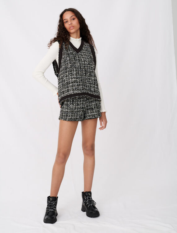 Tweed-style top with contrast trims : Tops color Black / White