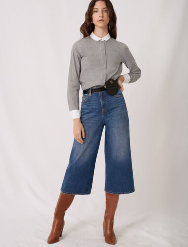 Striped poplin shirt with plain details : Shirts color Grey