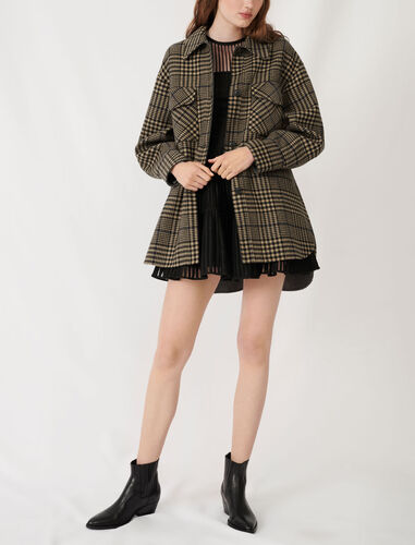 Belted check print coat : Coats & Jackets color Camel