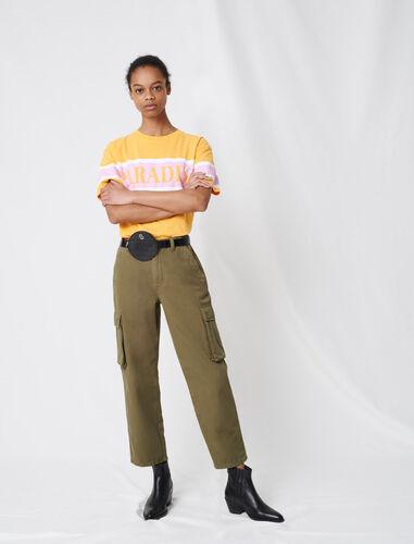 Cargo-style denim trousers : Trousers color Khaki
