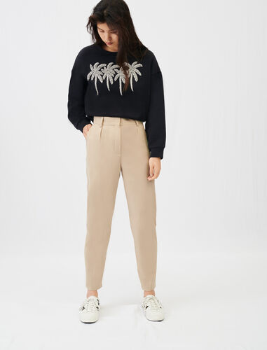 High-waisted suit trousers : View All color Beige