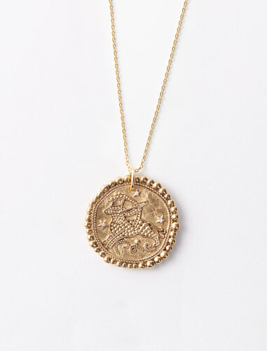 Sagittarius zodiac sign necklace : Jewelry color Old Brass