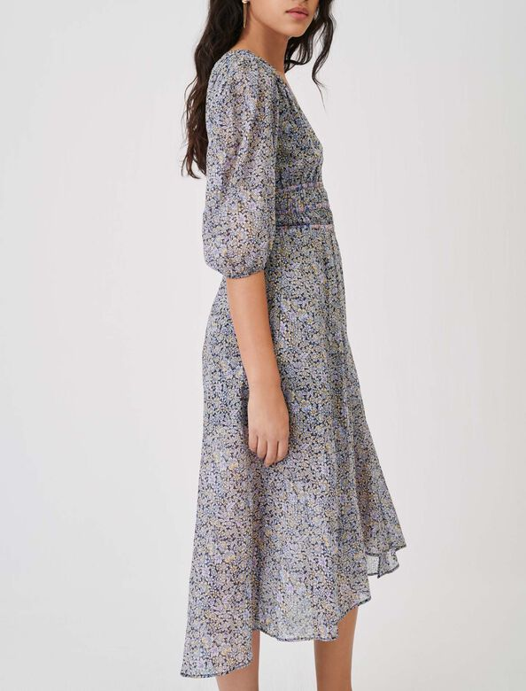 Printed cotton voile skirt with smocking : Skirts color Blue