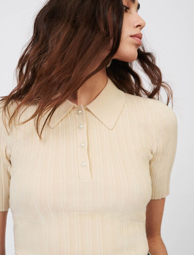 Ribbed polo-style sweater bead buttons : Sweaters color Beige