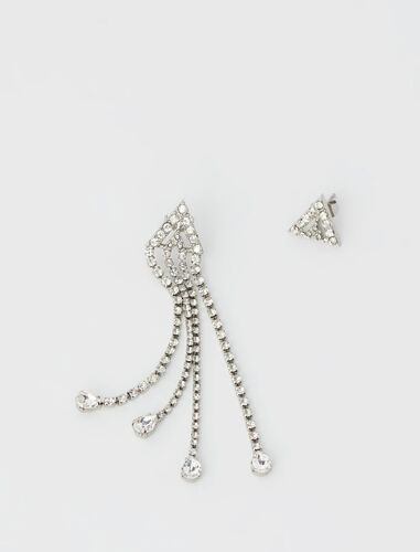 Asymmetric triangle earrings : View All color Silver