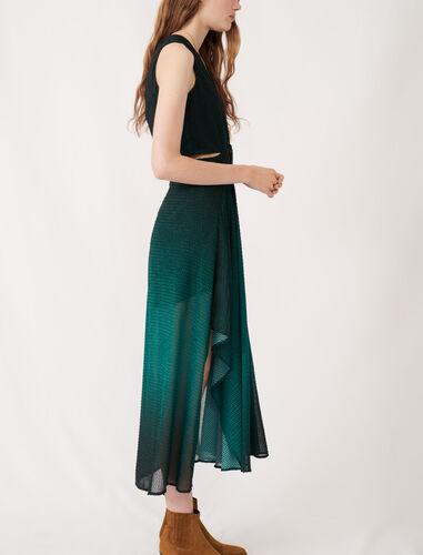 V领无袖渐变连衣裙 : 连衣裙 顏色 深绿色/Dark green