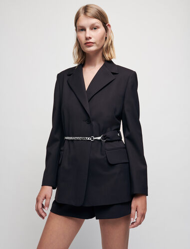 Tailored jacket with chain belt : Blazers color Navy