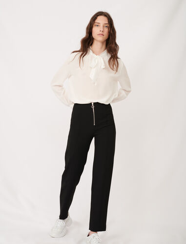 Recycled polyester straight cut trousers : Trousers color Black