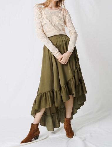 Ruffled boho skirt : null color Khaki
