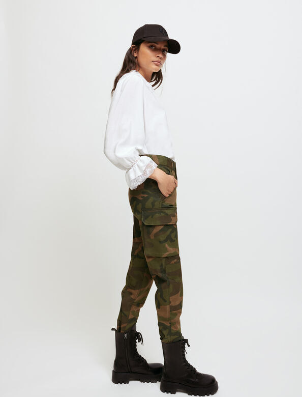 Khaki camouflage-style trousers : Trousers & Jeans color Khaki