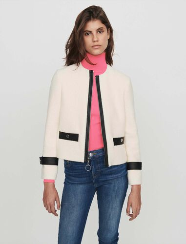 Zipped tweed-style contrast jacket : Coats & Jackets color Ecru