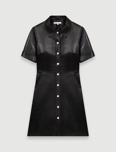 Buttoned leather shirt dress : Dresses color Black