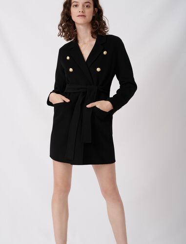 Belted coat in recycled wool : Coats & Jackets color Black
