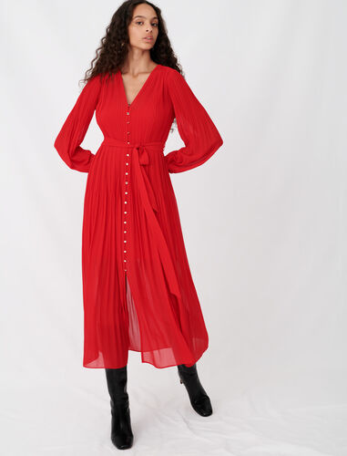 Pleated and belted muslin dress : Dresses color Red
