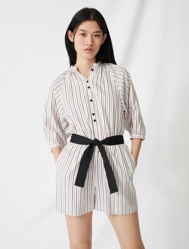 Belted pinstriped jumpsuit : Jumpshort & Jumpsuits color Ecru