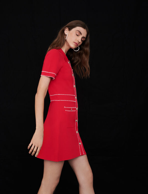 Contrast knit dress : Dresses color Red