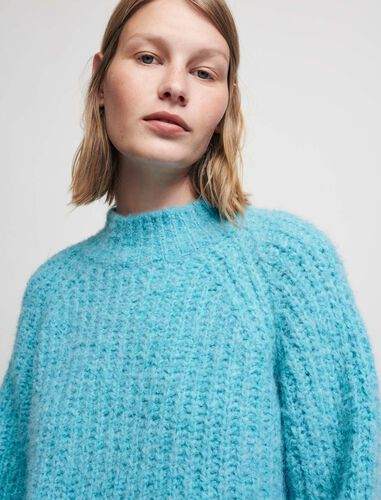 Wool alpaca blend high-necked jumper : Sweaters color Blue