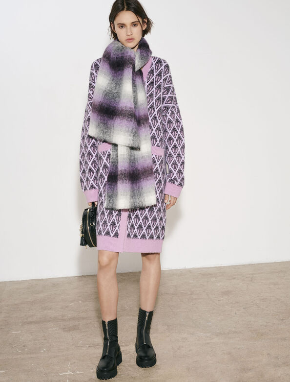 Thick scarf with blurred checks : Other Accessories color Purple