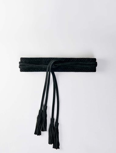 High-waisted suede belt : Belts color Black