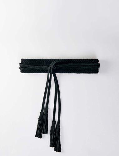 High-waisted suede belt : Belts color Black