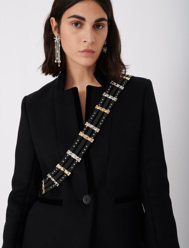 Black leather strap with studs : Small leather goods color Black