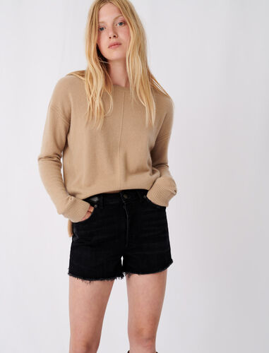 Round neck cashmere sweater : Sweaters color Camel