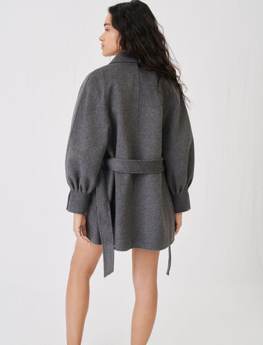 Belted double sided coat : View All color Grey