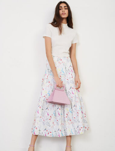 Printed cotton skirt : Skirts color White Red