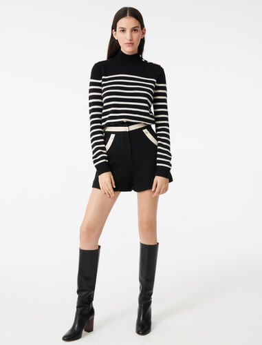 Sailor-style cashmere sweater : Sweaters color Ecru