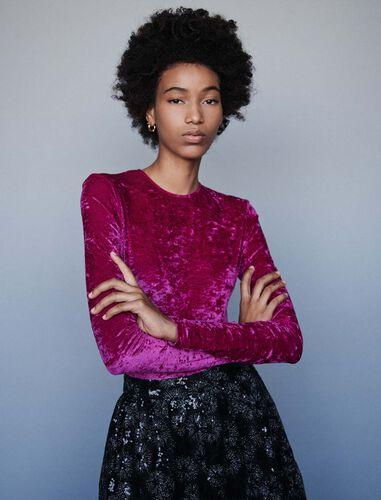 Crushed velvet bodysuit : Tops color Pink
