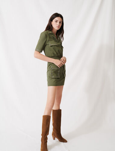 Khaki safari-style dress with eyelets : Dresses color Khaki