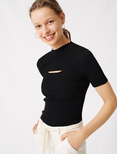 Black jumper with open neckline : Sweaters color Black