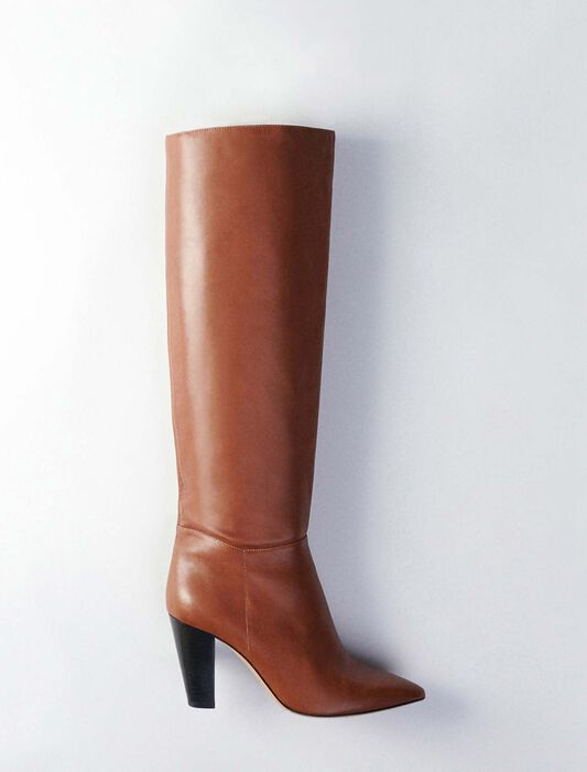 Heeled smooth leather boots : Boots & Flat shoes color Cognac