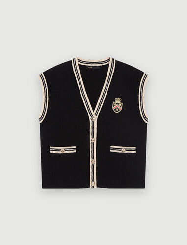 无袖学院风开衫 : Sweaters & Cardigans 顏色 黑色/BLACK