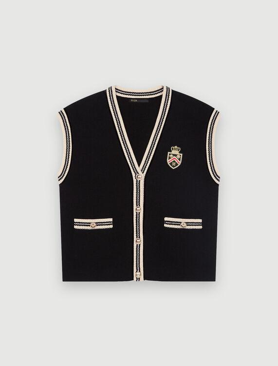 Sleeveless college-style cardigan - Sweaters & Cardigans - MAJE
