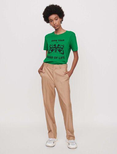 Wide straight-leg pants : Trousers color Camel