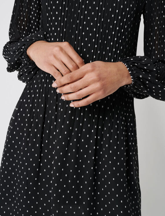 Pleated and embroidered dress : Dresses color Black