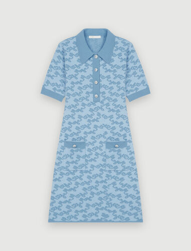 Maje jacquard dress : Dresses color Blue Sky
