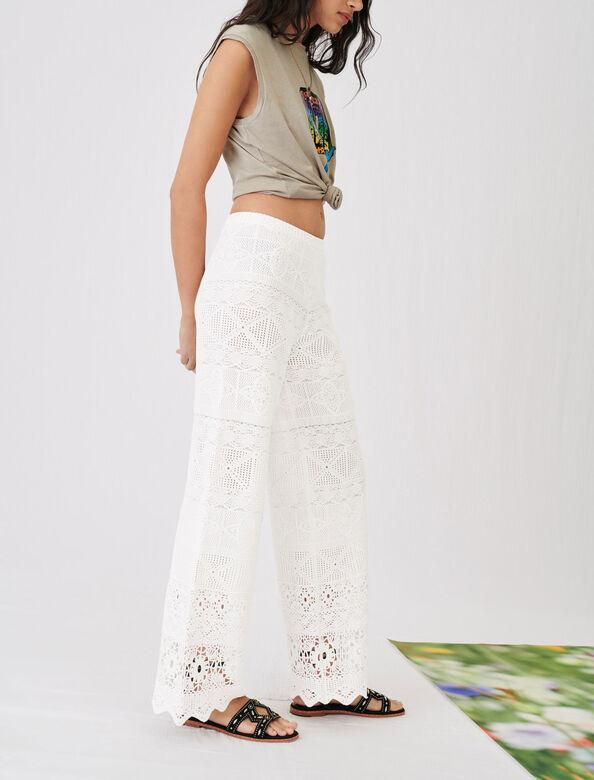 Crochet-style trousers : Trousers color Ecru