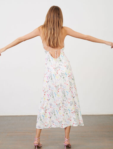 Strappy dress in printed jacquard : Dresses color White Red