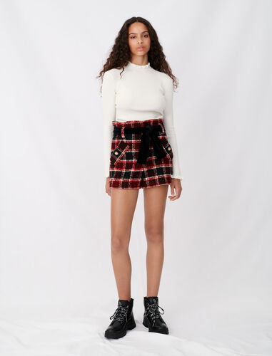 Checked shorts with velvet belt : Shorts color 0309