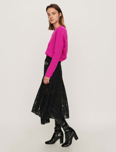 Guipure skirt with cashmere detail : Skirts color Black